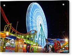 Ferris Wheel At Night Acrylic Print by Stelios Kleanthous