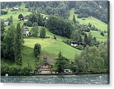 Few Houses On The Slope Of Mountain Next To Lake Lucerne Acrylic Print by Ashish Agarwal