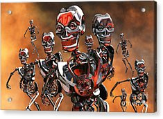 Fierce Androids Riot The City Of Tokyo Acrylic Print by Mark Stevenson