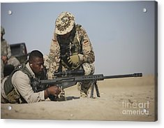 Fijian Contractor Clearing His Barrett Acrylic Print by Terry Moore