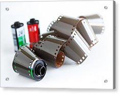 Film And Canisters Acrylic Print by Carlos Caetano