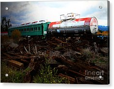 Final Stop Express . 7d8995 Acrylic Print by Wingsdomain Art and Photography