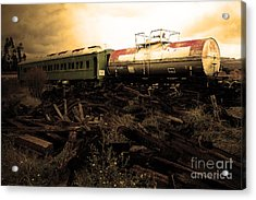 Final Stop Express . Sepia . 7d8995 Acrylic Print by Wingsdomain Art and Photography