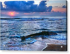 Final Sunrise - Beached Boat On The Outer Banks Acrylic Print by Dan Carmichael