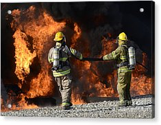 Firefighters In Action 3 Acrylic Print by Bob Christopher