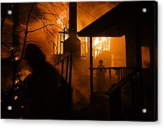 Firefighters Spray Down A Burning House Acrylic Print by Mark Thiessen
