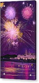Fireworks In Malta Acrylic Print by Angss McBride