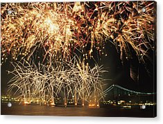 Fireworks Over Harbour Acrylic Print by Axiom Photographic