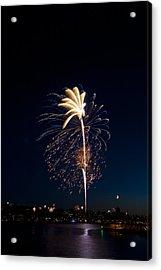 Fireworks Over Lake Washington Acrylic Print by David Rische