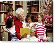 First Lady Barbara Bush Reads Acrylic Print by Everett
