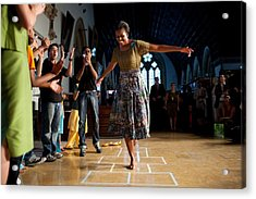 First Lady Michelle Obama Plays Acrylic Print by Everett