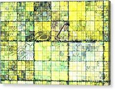 First Time Geometric Yellow Acrylic Print by Mayhem Mediums