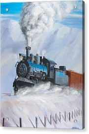 First Train Through Acrylic Print by Christopher Jenkins