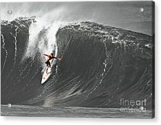 Fisher Heverly Surfing At The Banzai Pipeline Acrylic Print by Paul Topp
