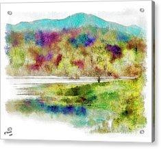 Fishing - Watson Lake Acrylic Print by Arne Hansen