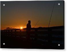 Fishing And Sunset  Acrylic Print by Saifon Anaya