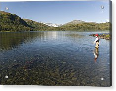 Fishing At Shrode Lake Acrylic Print by Gloria & Richard Maschmeyer