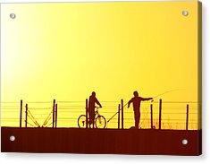Fishing At Sunset Acrylic Print by Dennis Pintoski