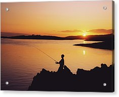 Fishing At Sunset, Roaring Water Bay Acrylic Print by The Irish Image Collection