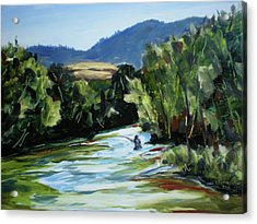 Fishing On The Boise Acrylic Print by Les Herman