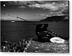 Fishing Tackle Box Filled With Sea Fishing Gear Rod And Bait On The County Antrim Coast Acrylic Print by Joe Fox