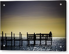 Fishing The End Of The Pier Acrylic Print by Mabry Campbell