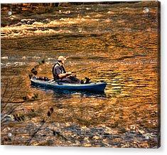Fishing The Golden Hour Acrylic Print by Steven Richardson