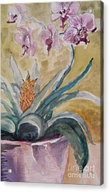 Five Purple Orchids  Acrylic Print by Emily Michaud