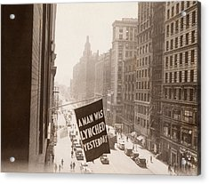 Flag Announcing Another Lynching. A Man Acrylic Print by Everett
