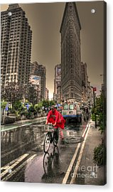 Flatiron In The Rain Acrylic Print by David Bearden