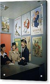 Flight Attendants Stand And Talk Acrylic Print by B. Anthony Stewart