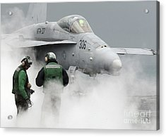Flight Deck Personnel Are Surrounded Acrylic Print by Stocktrek Images