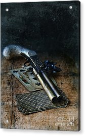 Flint Lock Pistol And Playing Cards Acrylic Print by Jill Battaglia
