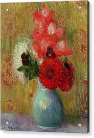 Floral Arrangement In Green Vase Acrylic Print by William James Glackens