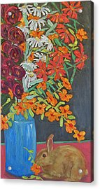Floral Bouquet And Bunny Acrylic Print by Susan  Spohn