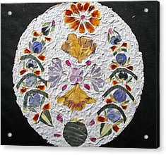 Floral Collage On Handmade Paper No. 2031 Acrylic Print by Mircea Veleanu