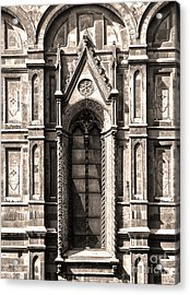 Florence Italy - Duomo Stained Glass - 02 - Sepia Acrylic Print by Gregory Dyer