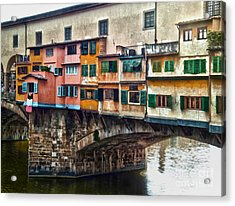 Florence Italy - Ponte Vecchio Acrylic Print by Gregory Dyer