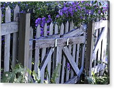 Flowers On A Fence Acrylic Print by Nancy Greenland