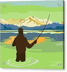 Fly Fisherman Rod And Reel Retro Acrylic Print by Aloysius Patrimonio