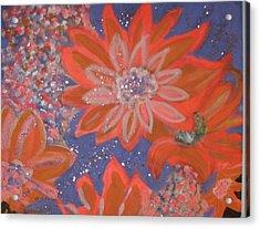 Flying Orange Flowers On Blue Acrylic Print by Anne-Elizabeth Whiteway