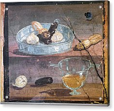 Food And Glass Dishes, Roman Fresco Acrylic Print by Sheila Terry