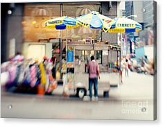 Food Vendor In New York City Acrylic Print by Kim Fearheiley
