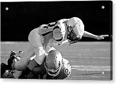 Football In Black And White Acrylic Print by Susan Leggett