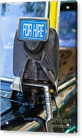For Hire Sign On Taxi Acrylic Print by Inti St. Clair