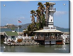 Forbes Island Restaurant With Alcatraz Island In The Background . San Francisco California . 7d14261 Acrylic Print by Wingsdomain Art and Photography