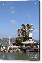 Forbes Island Restaurant With Alcatraz Island In The Background . San Francisco California . 7d14263 Acrylic Print by Wingsdomain Art and Photography