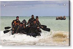 Force Reconnaissance Marines Paddle Acrylic Print by Stocktrek Images