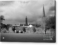 Former Castle And Bishops Palace And Workhouse Site With Cathedral And Round Tower Killala Acrylic Print by Joe Fox