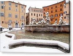 Fountain Of Neptune Acrylic Print by Fabrizio Troiani